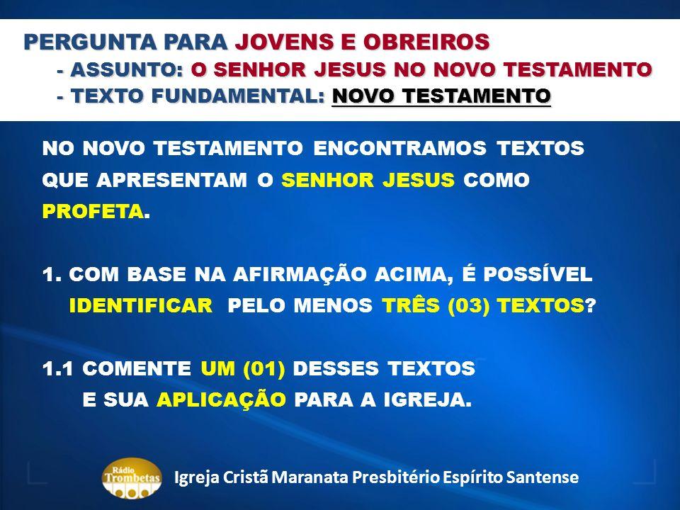 PERGUNTA PARA JOVENS E OBREIROS - ASSUNTO: O SENHOR JESUS NO NOVO TESTAMENTO - TEXTO FUNDAMENTAL: NOVO TESTAMENTO NO NOVO TESTAMENTO ENCONTRAMOS TEXTO