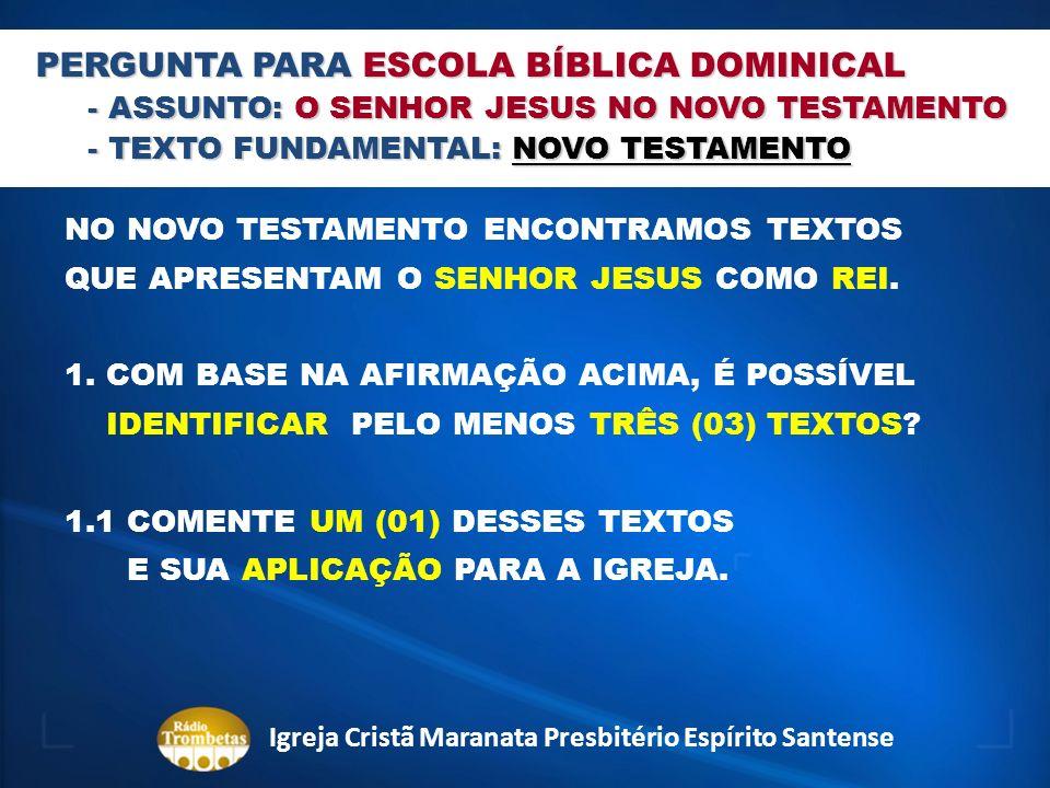 PERGUNTA PARA ESCOLA BÍBLICA DOMINICAL - ASSUNTO: O SENHOR JESUS NO NOVO TESTAMENTO - TEXTO FUNDAMENTAL: NOVO TESTAMENTO NO NOVO TESTAMENTO ENCONTRAMO