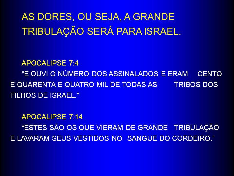APOCALIPSE 7:4 E OUVI O NÚMERO DOS ASSINALADOS E ERAM CENTO E QUARENTA E QUATRO MIL DE TODAS AS TRIBOS DOS FILHOS DE ISRAEL. APOCALIPSE 7:14 ESTES SÃO