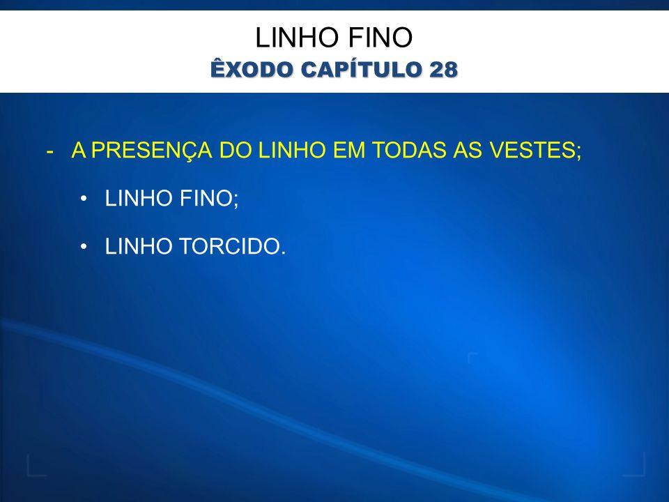 -A PRESENÇA DO LINHO EM TODAS AS VESTES; LINHO FINO; LINHO TORCIDO. LINHO FINO ÊXODO CAPÍTULO 28