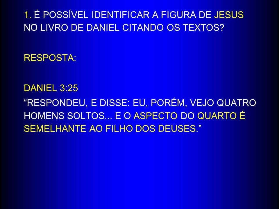 1. É POSSÍVEL IDENTIFICAR A FIGURA DE JESUS NO LIVRO DE DANIEL CITANDO OS TEXTOS? RESPOSTA: DANIEL 3:25 RESPONDEU, E DISSE: EU, PORÉM, VEJO QUATRO HOM
