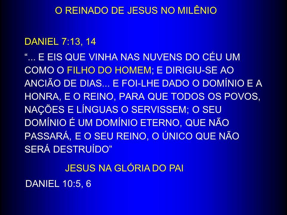 O REINADO DE JESUS NO MILÊNIO DANIEL 7:13, 14... E EIS QUE VINHA NAS NUVENS DO CÉU UM COMO O FILHO DO HOMEM; E DIRIGIU-SE AO ANCIÃO DE DIAS... E FOI-L