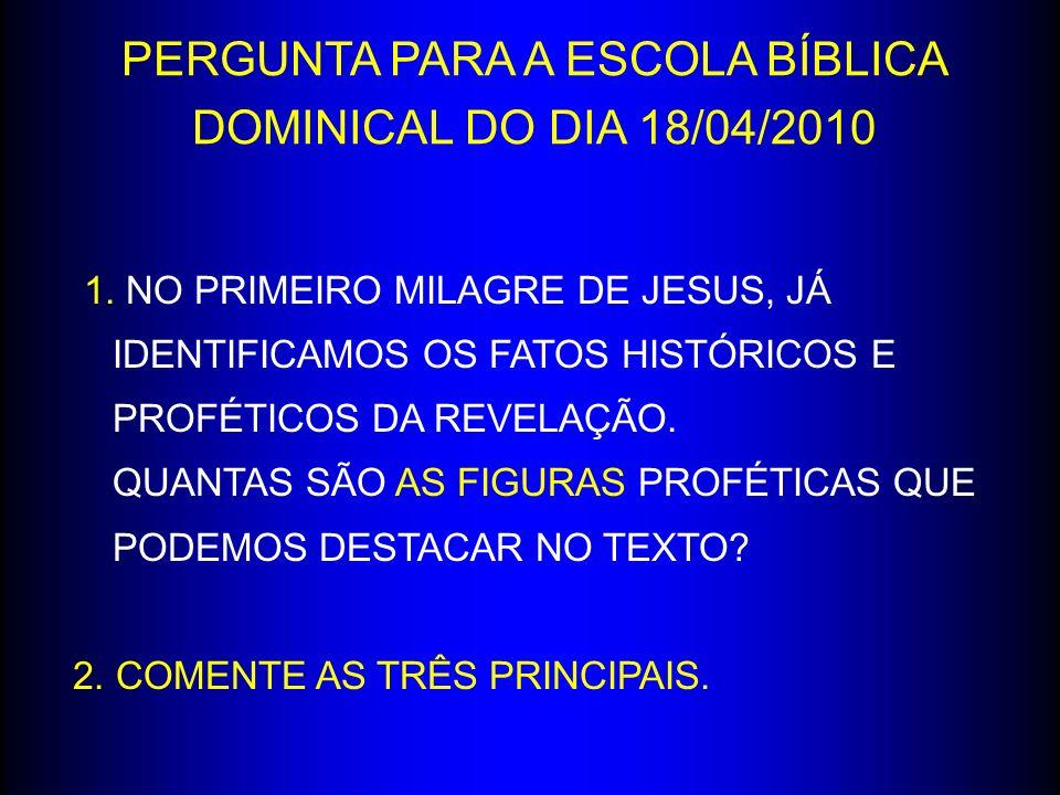 1. NO PRIMEIRO MILAGRE DE JESUS, JÁ IDENTIFICAMOS OS FATOS HISTÓRICOS E PROFÉTICOS DA REVELAÇÃO. QUANTAS SÃO AS FIGURAS PROFÉTICAS QUE PODEMOS DESTACA