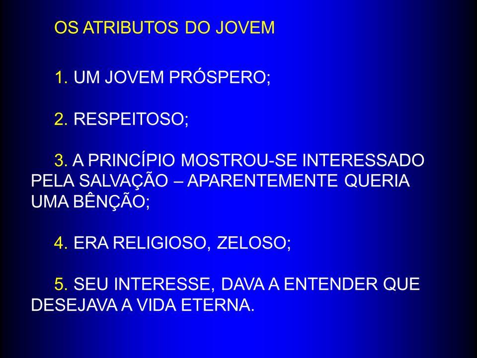 ATITUDES DO JOVEM: 1.CORREU PARA ELE; 2. AJOELHOU-SE; 3.