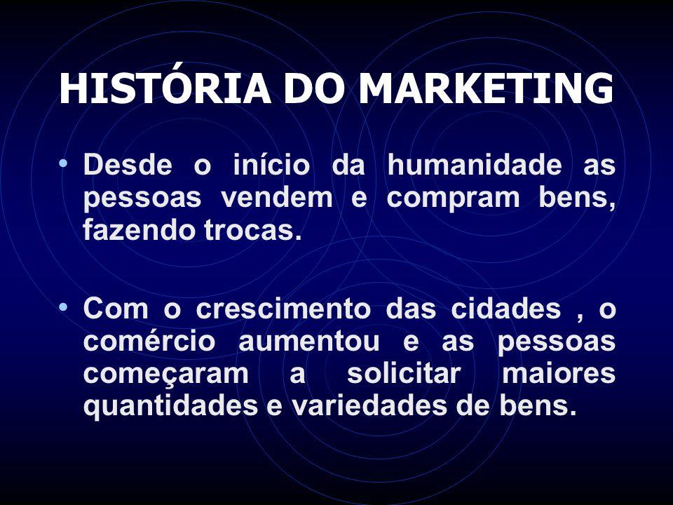 HISTÓRIA DO MARKETING Desde o início da humanidade as pessoas vendem e compram bens, fazendo trocas. Com o crescimento das cidades, o comércio aumento