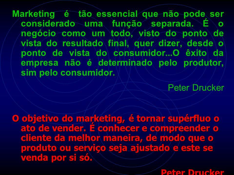 Marketing é tão essencial que não pode ser considerado uma função separada. É o negócio como um todo, visto do ponto de vista do resultado final, quer