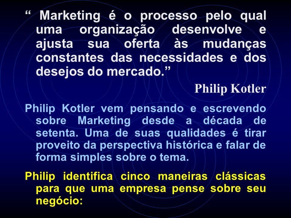 Marketing é o processo pelo qual uma organização desenvolve e ajusta sua oferta às mudanças constantes das necessidades e dos desejos do mercado. Phil