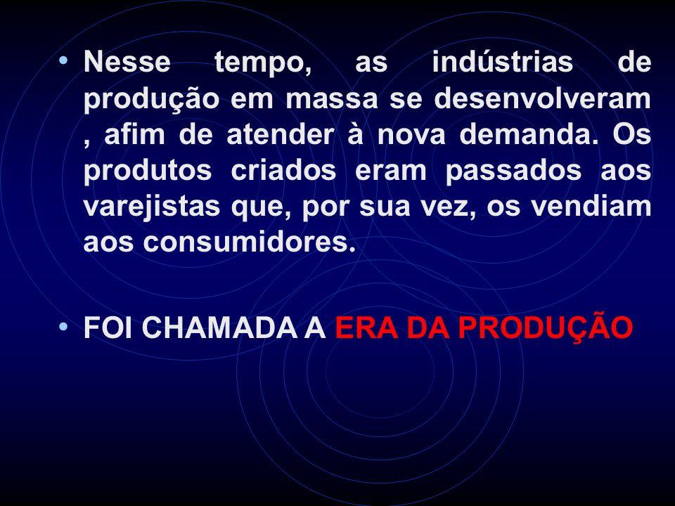 Nesse tempo, as indústrias de produção em massa se desenvolveram, afim de atender à nova demanda. Os produtos criados eram passados aos varejistas que