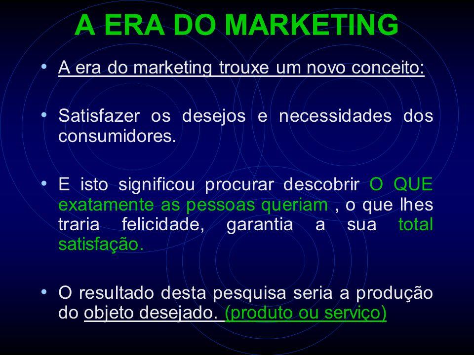 A ERA DO MARKETING A era do marketing trouxe um novo conceito: Satisfazer os desejos e necessidades dos consumidores. E isto significou procurar desco