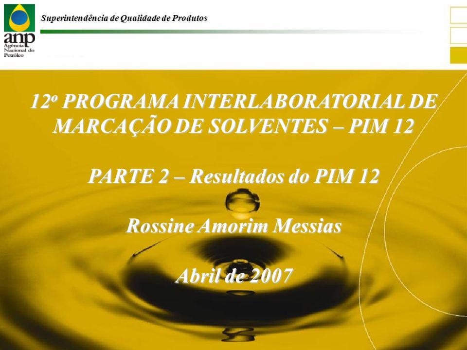 Superintendência de Qualidade de Produtos 12 o PROGRAMA INTERLABORATORIAL DE MARCAÇÃO DE SOLVENTES – PIM 12 PARTE 2 – Resultados do PIM 12 Rossine Amorim Messias Abril de 2007