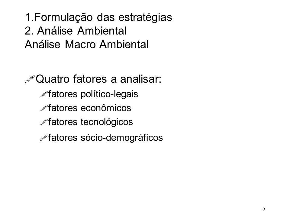 5 1.Formulação das estratégias 2. Análise Ambiental Análise Macro Ambiental ! Quatro fatores a analisar: ! fatores político-legais ! fatores econômico
