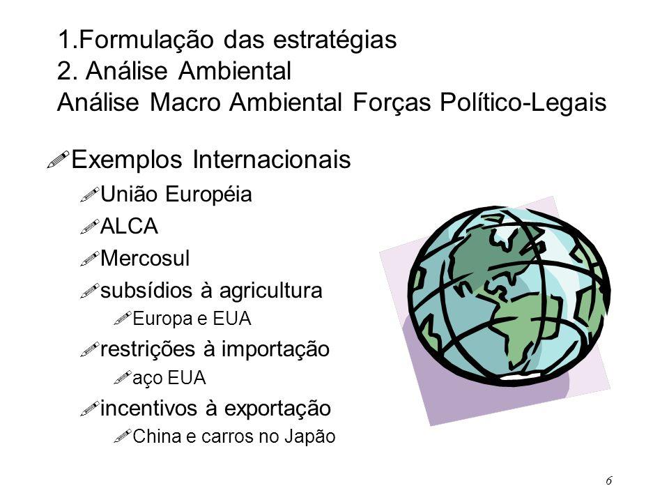 6 1.Formulação das estratégias 2. Análise Ambiental Análise Macro Ambiental Forças Político-Legais ! Exemplos Internacionais ! União Européia ! ALCA !