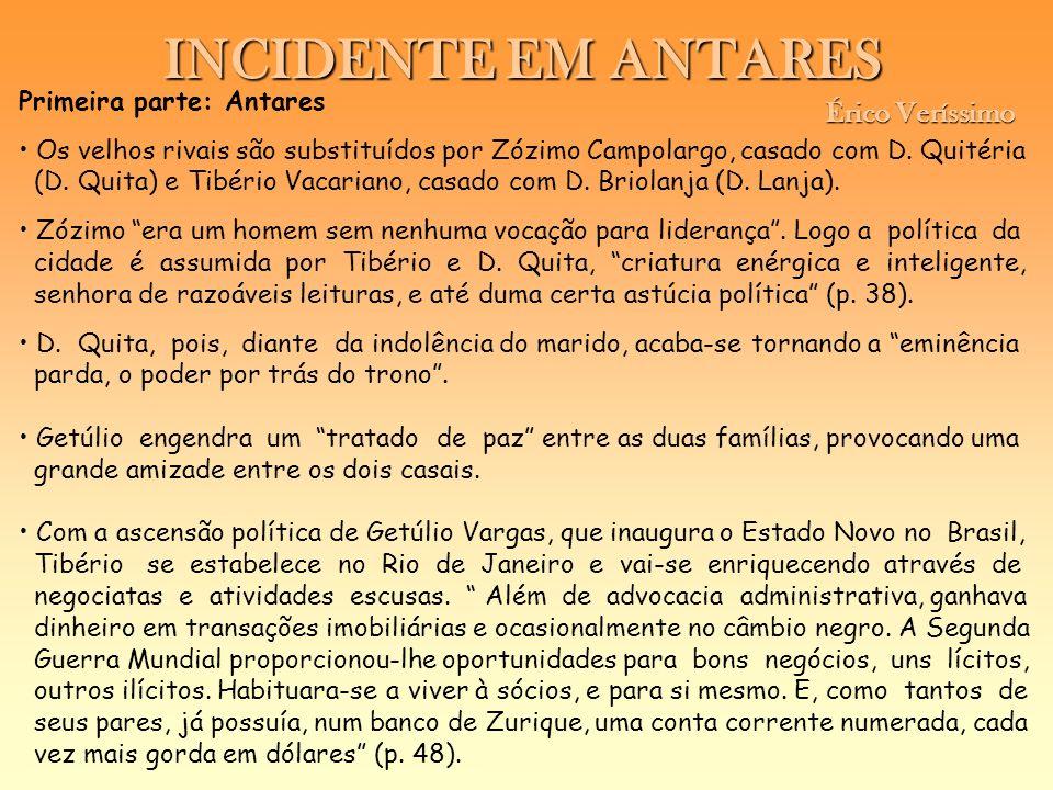 INCIDENTE EM ANTARES Érico Veríssimo Érico Veríssimo Primeira parte: Antares Os velhos rivais são substituídos por Zózimo Campolargo, casado com D. Qu