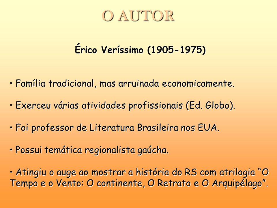 O AUTOR Érico Veríssimo (1905-1975) Família tradicional, mas arruinada economicamente. Família tradicional, mas arruinada economicamente. Exerceu vári