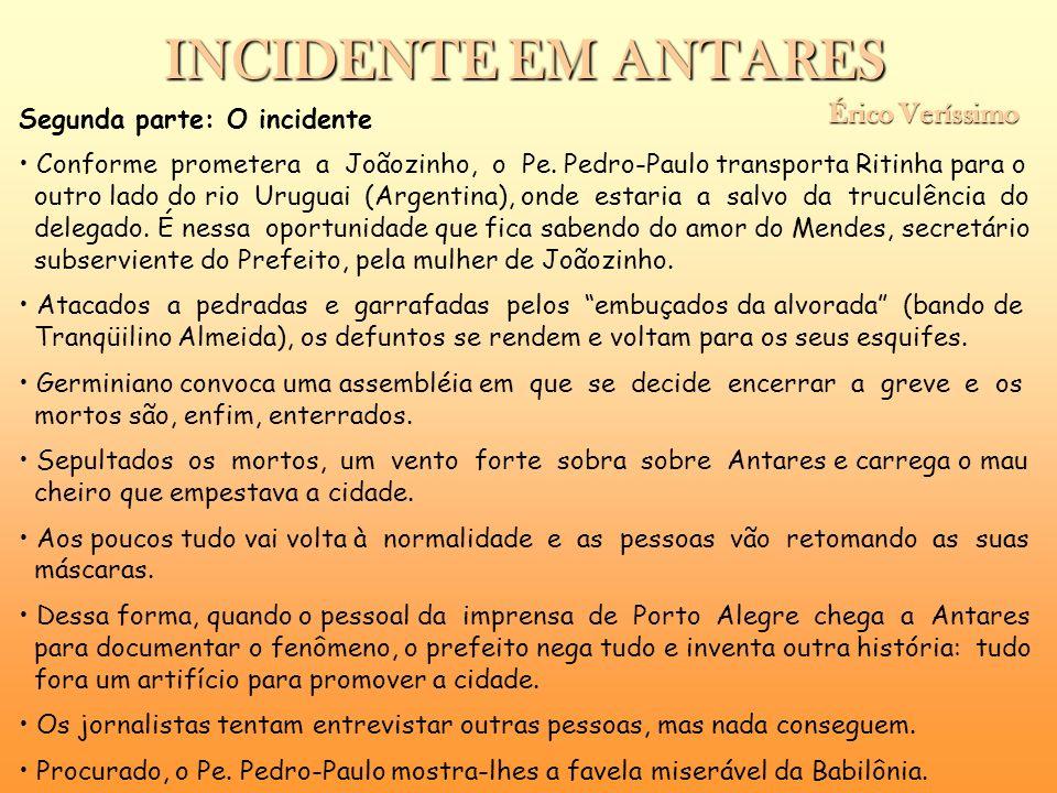 INCIDENTE EM ANTARES Érico Veríssimo Érico Veríssimo Segunda parte: O incidente Conforme prometera a Joãozinho, o Pe. Pedro-Paulo transporta Ritinha p