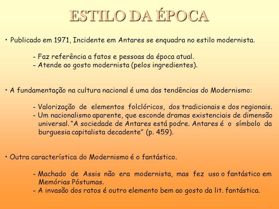 ESTILO DA ÉPOCA Publicado em 1971, Incidente em Antares se enquadra no estilo modernista. - Faz referência a fatos e pessoas da época atual. - Atende