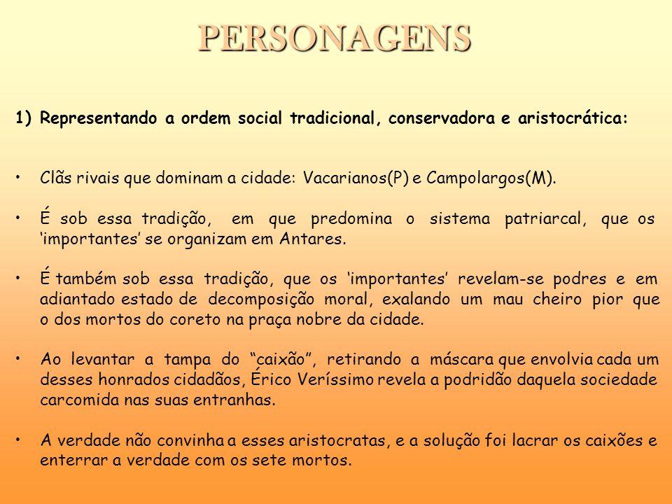 PERSONAGENS 1)Representando a ordem social tradicional, conservadora e aristocrática: Clãs rivais que dominam a cidade: Vacarianos(P) e Campolargos(M)