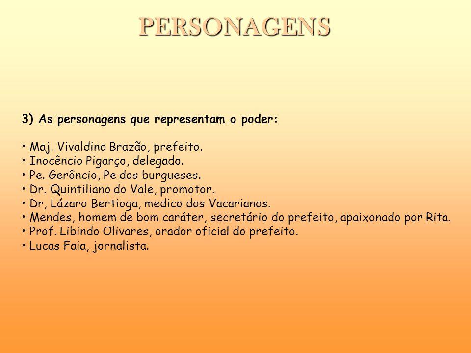 3) As personagens que representam o poder: Maj. Vivaldino Brazão, prefeito. Inocêncio Pigarço, delegado. Pe. Gerôncio, Pe dos burgueses. Dr. Quintilia