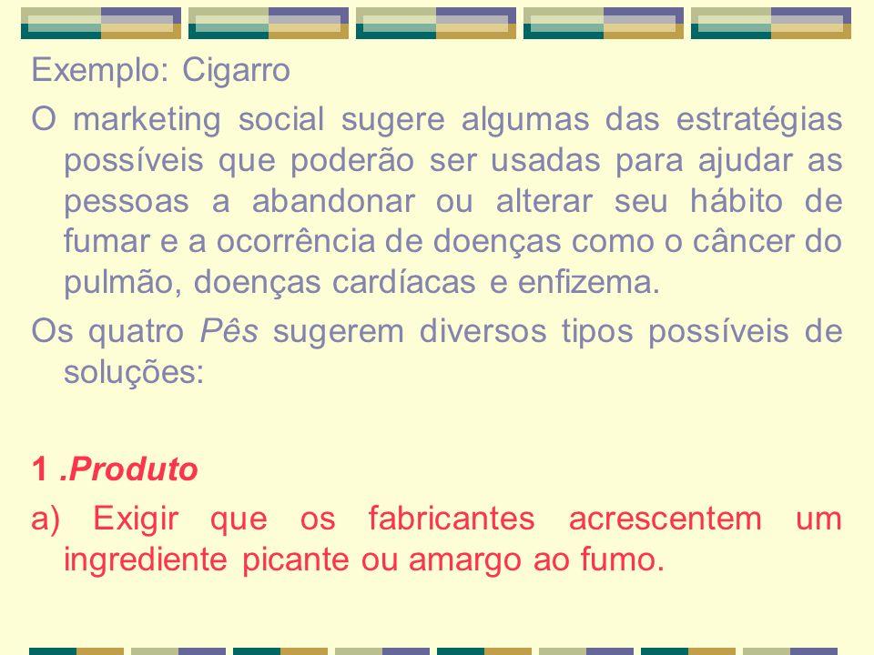 Exemplo: Cigarro O marketing social sugere algumas das estratégias possíveis que poderão ser usadas para ajudar as pessoas a abandonar ou alterar seu