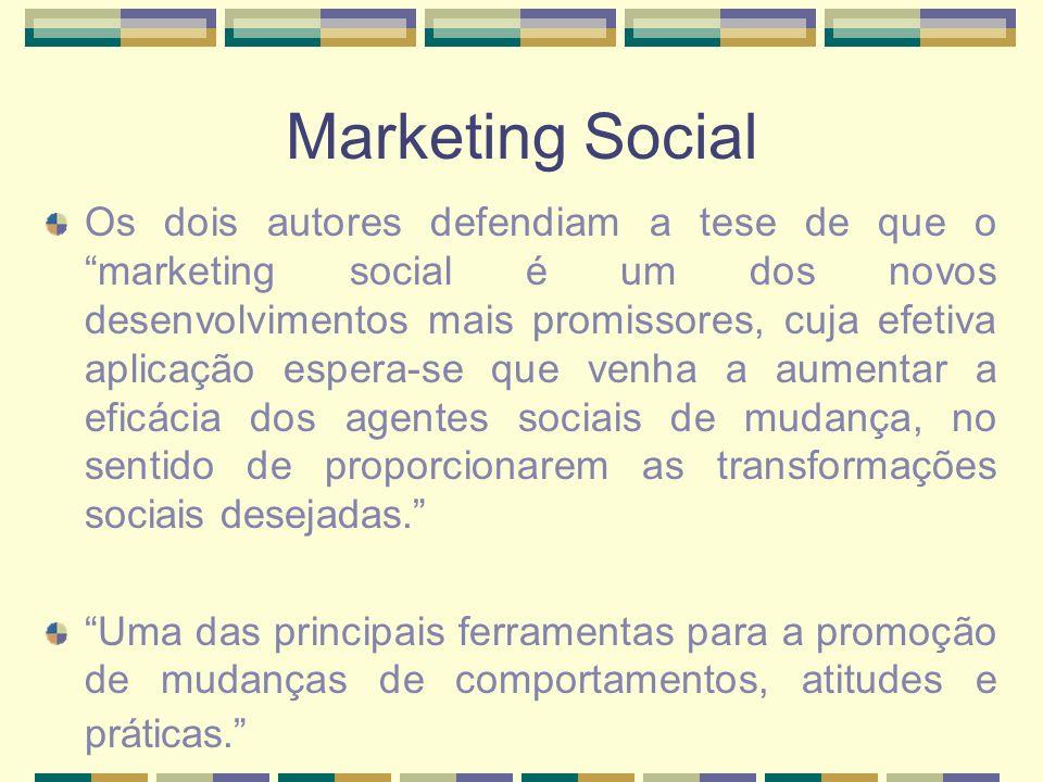 Marketing Social Os dois autores defendiam a tese de que o marketing social é um dos novos desenvolvimentos mais promissores, cuja efetiva aplicação e