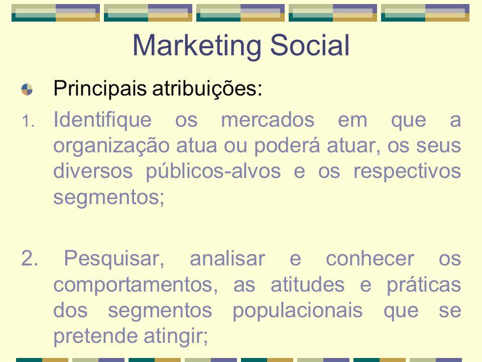 Marketing Social Principais atribuições: 1. Identifique os mercados em que a organização atua ou poderá atuar, os seus diversos públicos-alvos e os re
