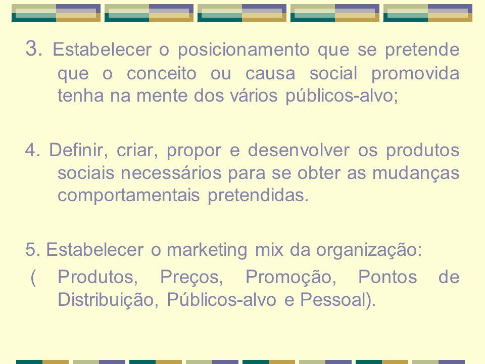3. Estabelecer o posicionamento que se pretende que o conceito ou causa social promovida tenha na mente dos vários públicos-alvo; 4. Definir, criar, p