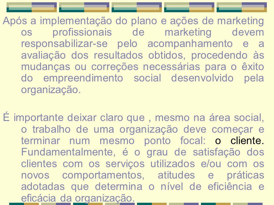 Após a implementação do plano e ações de marketing os profissionais de marketing devem responsabilizar-se pelo acompanhamento e a avaliação dos result
