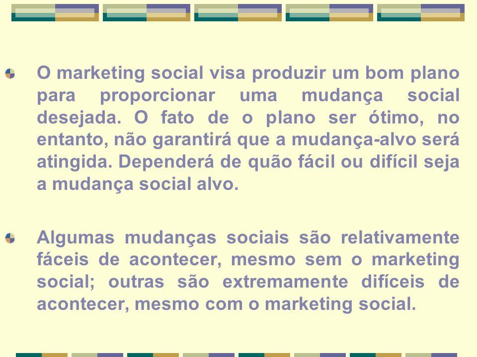 O marketing social visa produzir um bom plano para proporcionar uma mudança social desejada. O fato de o plano ser ótimo, no entanto, não garantirá qu