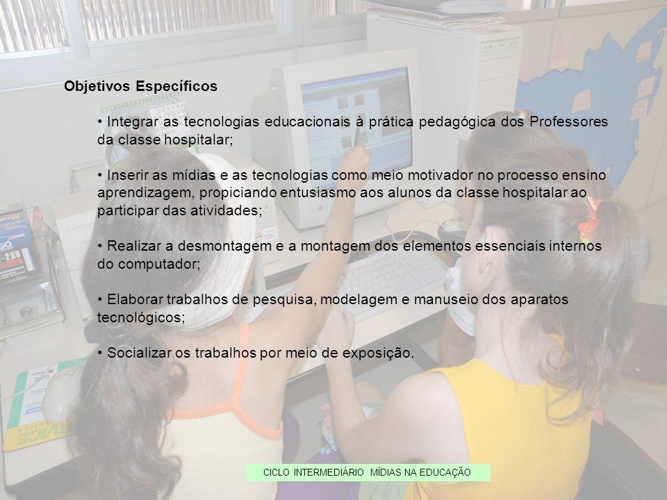 CICLO INTERMEDIÁRIO MÍDIAS NA EDUCAÇÃO Objetivos Específicos Integrar as tecnologias educacionais à prática pedagógica dos Professores da classe hospi