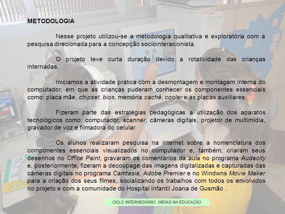 CICLO INTERMEDIÁRIO MÍDIAS NA EDUCAÇÃO METODOLOGIA Nesse projeto utilizou-se a metodologia qualitativa e exploratória com a pesquisa direcionada para