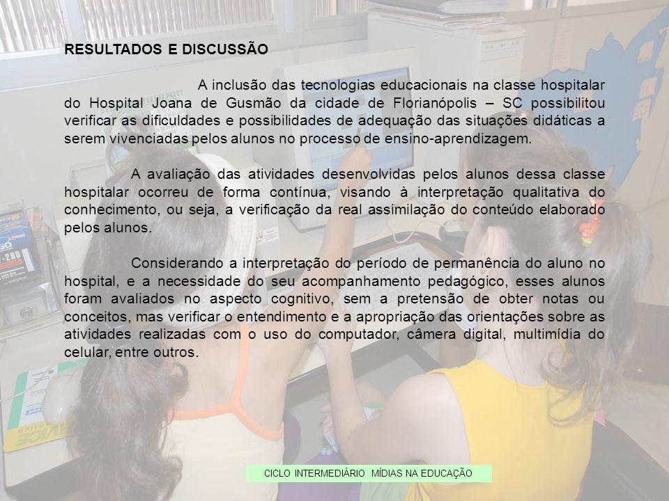 CICLO INTERMEDIÁRIO MÍDIAS NA EDUCAÇÃO RESULTADOS E DISCUSSÃO A inclusão das tecnologias educacionais na classe hospitalar do Hospital Joana de Gusmão
