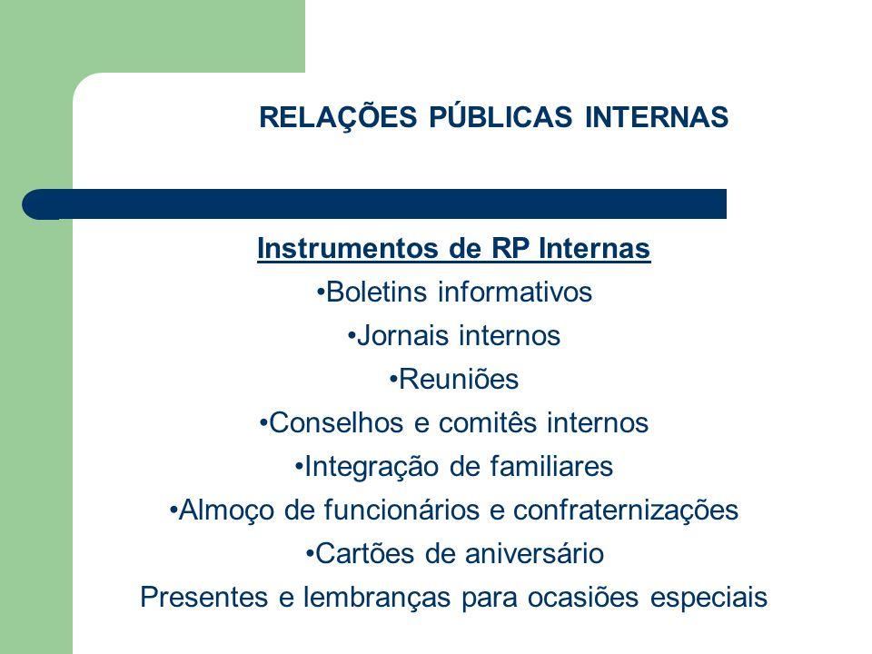 RELAÇÕES PÚBLICAS INTERNAS Instrumentos de RP Internas Boletins informativos Jornais internos Reuniões Conselhos e comitês internos Integração de fami