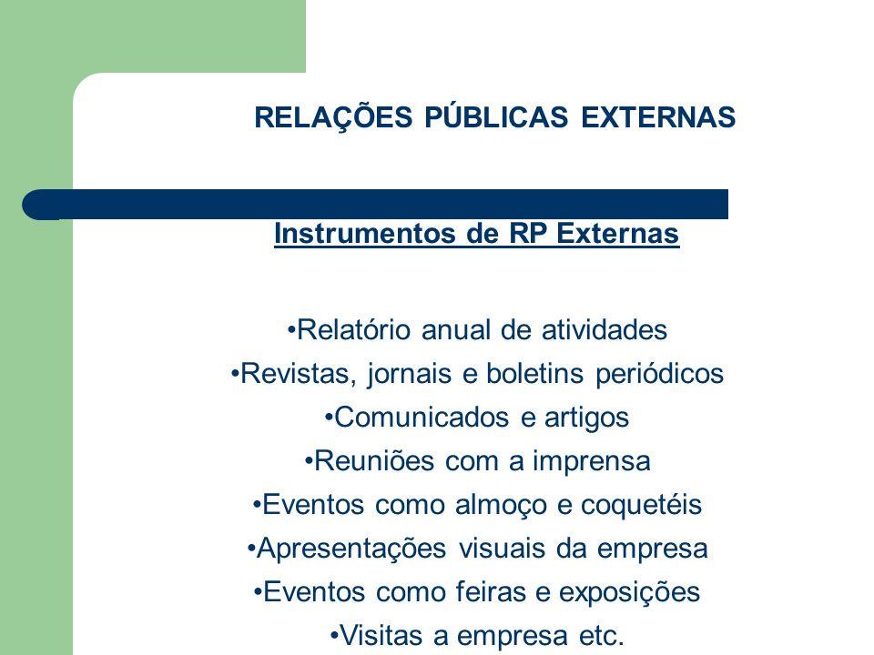 RELAÇÕES PÚBLICAS EXTERNAS Instrumentos de RP Externas Relatório anual de atividades Revistas, jornais e boletins periódicos Comunicados e artigos Reu