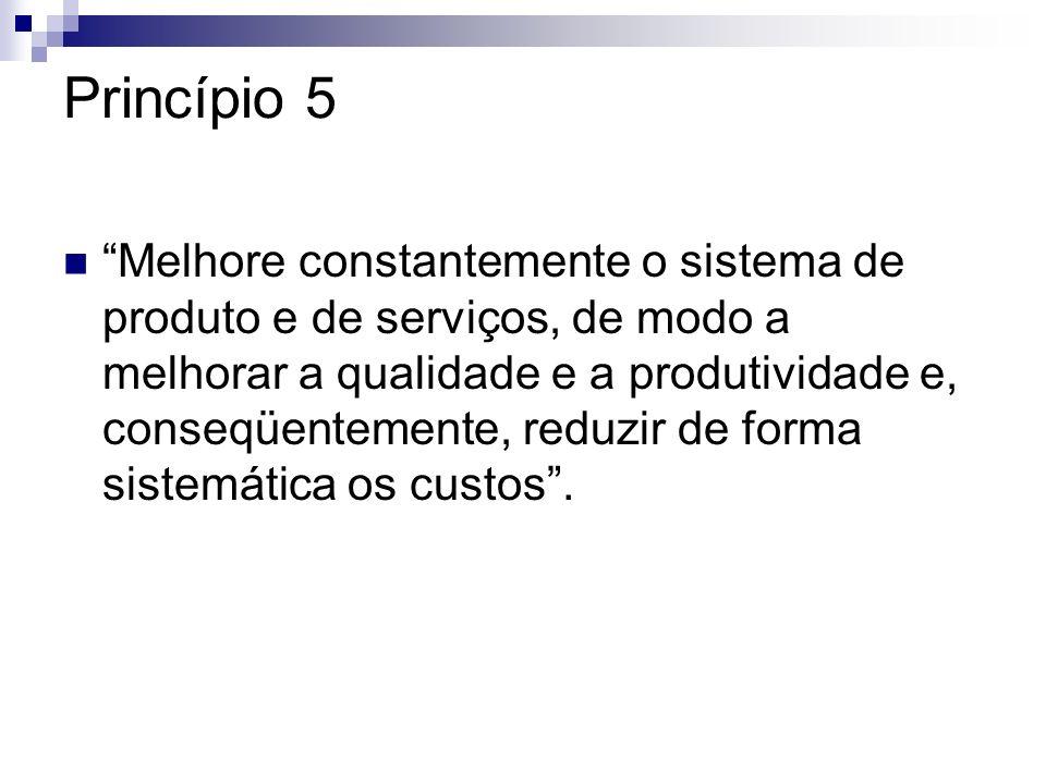 Princípio 5 Melhore constantemente o sistema de produto e de serviços, de modo a melhorar a qualidade e a produtividade e, conseqüentemente, reduzir d