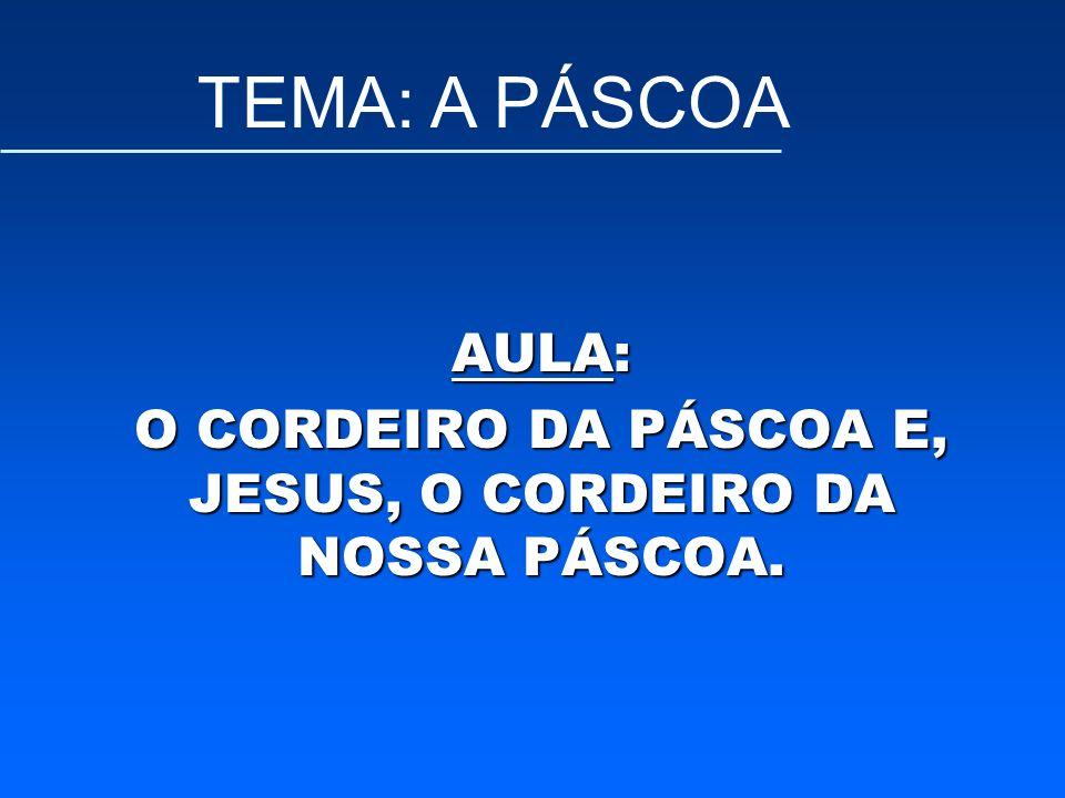AULA: O CORDEIRO DA PÁSCOA E, JESUS, O CORDEIRO DA NOSSA PÁSCOA. TEMA: A PÁSCOA