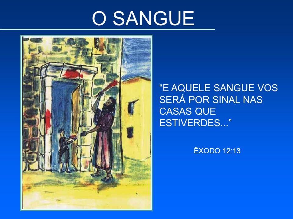 O SANGUE E AQUELE SANGUE VOS SERÁ POR SINAL NAS CASAS QUE ESTIVERDES... ÊXODO 12:13