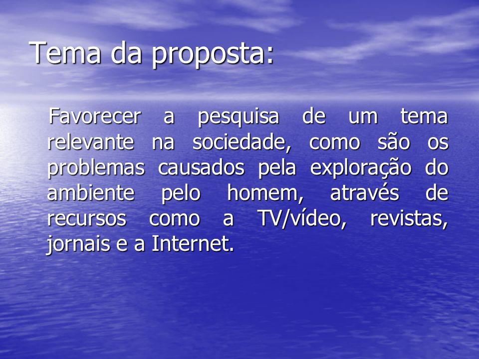 Tema da proposta: Favorecer a pesquisa de um tema relevante na sociedade, como são os problemas causados pela exploração do ambiente pelo homem, atrav