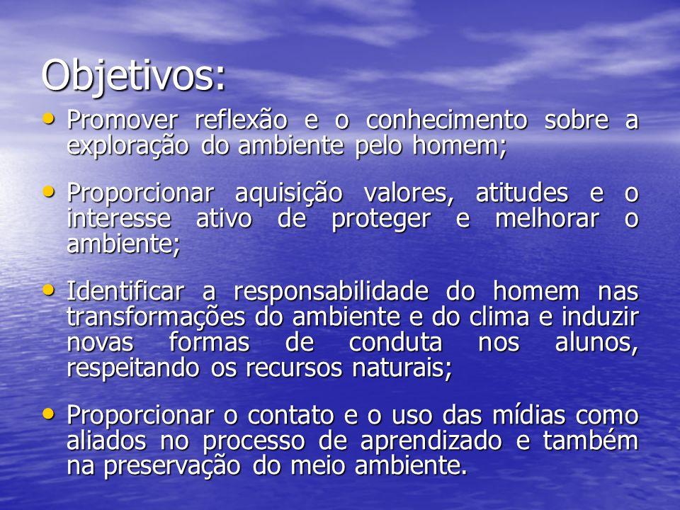Objetivos: Promover reflexão e o conhecimento sobre a exploração do ambiente pelo homem; Promover reflexão e o conhecimento sobre a exploração do ambi