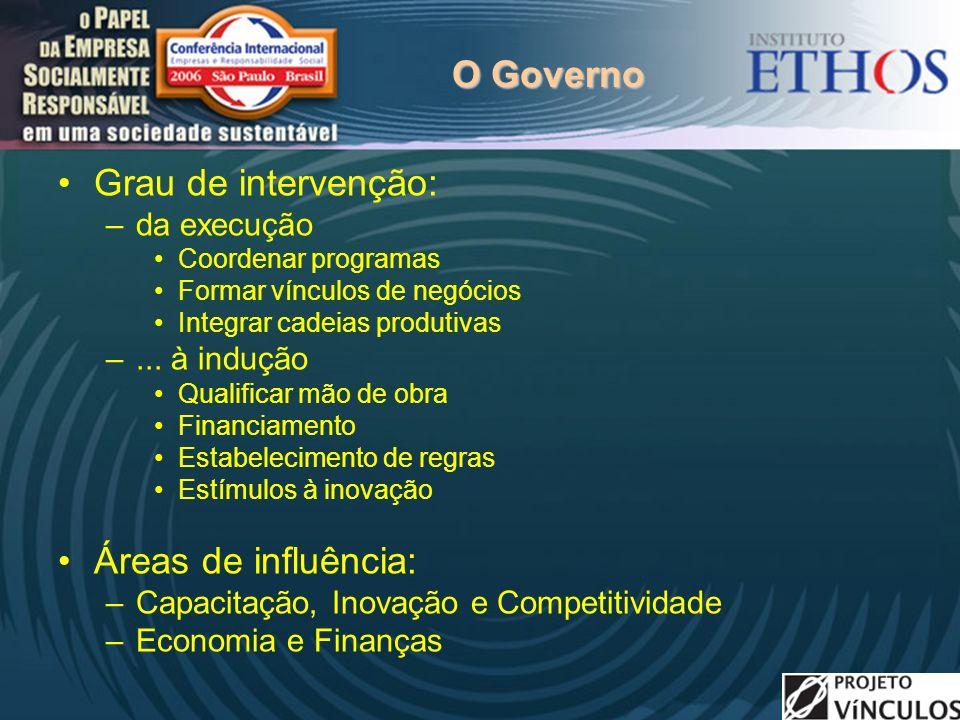 O Governo Grau de intervenção: –da execução Coordenar programas Formar vínculos de negócios Integrar cadeias produtivas –...