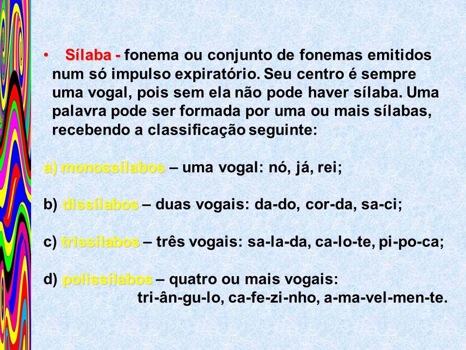 Sílaba - Sílaba - fonema ou conjunto de fonemas emitidos num só impulso expiratório. Seu centro é sempre uma vogal, pois sem ela não pode haver sílaba