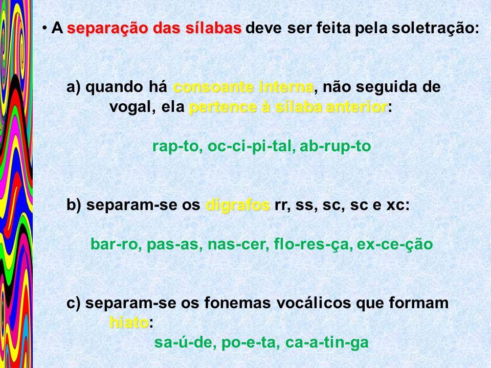 separação das sílabas A separação das sílabas deve ser feita pela soletração: consoante interna a) quando há consoante interna, não seguida de pertenc