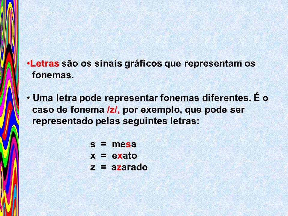 LetrasLetras são os sinais gráficos que representam os fonemas. Uma letra pode representar fonemas diferentes. É o caso de fonema /z/, por exemplo, qu
