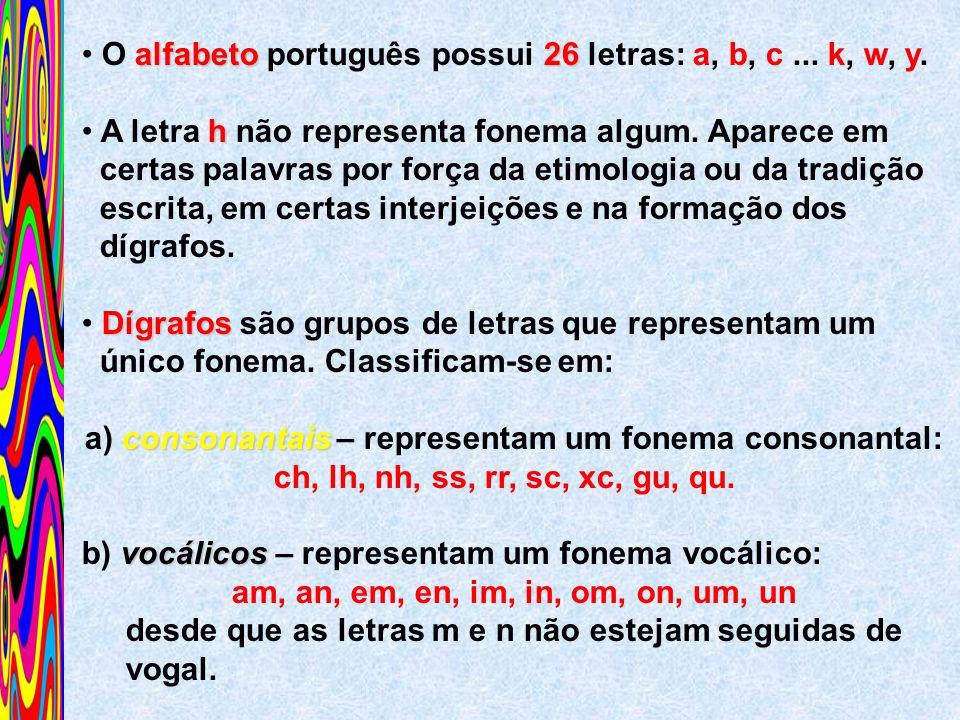 alfabeto26 O alfabeto português possui 26 letras: a, b, c... k, w, y. h A letra h não representa fonema algum. Aparece em certas palavras por força da
