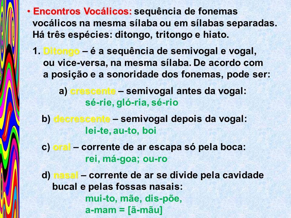 Encontros Vocálicos: Encontros Vocálicos: sequência de fonemas vocálicos na mesma sílaba ou em sílabas separadas. Há três espécies: ditongo, tritongo