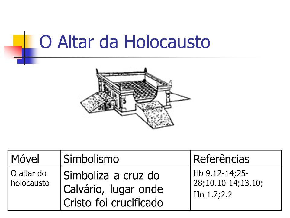 O Altar da Holocausto MóvelSimbolismoReferências O altar do holocausto Simboliza a cruz do Calvário, lugar onde Cristo foi crucificado Hb 9.12-14;25-