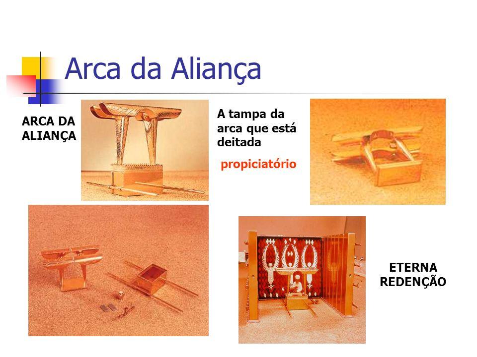 Arca da Aliança ARCA DA ALIANÇA A tampa da arca que está deitada propiciatório ETERNA REDENÇÃO