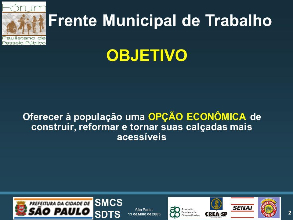 2 São Paulo 11 de Maio de 2005 SMCS SDTS Frente Municipal de Trabalho Oferecer à população uma OPÇÃO ECONÔMICA de construir, reformar e tornar suas calçadas mais acessíveis OBJETIVO