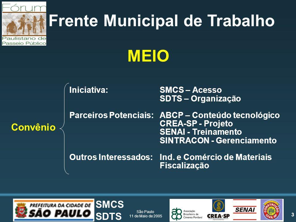 3 São Paulo 11 de Maio de 2005 SMCS SDTS Frente Municipal de Trabalho Iniciativa:SMCS – Acesso SDTS – Organização Parceiros Potenciais:ABCP – Conteúdo tecnológico CREA-SP - Projeto SENAI - Treinamento SINTRACON - Gerenciamento Outros Interessados:Ind.