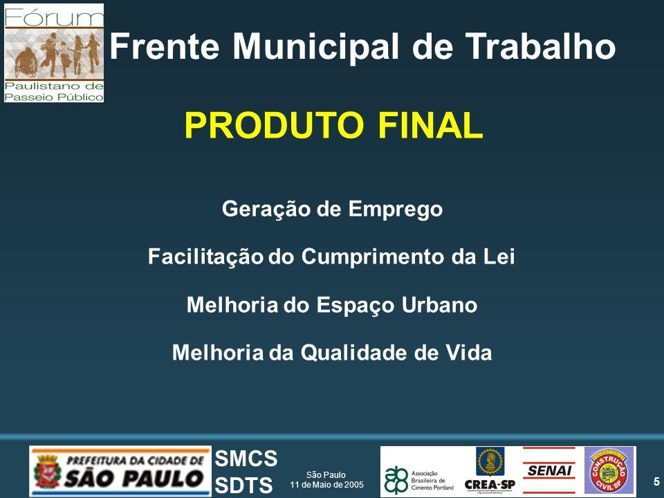 5 São Paulo 11 de Maio de 2005 SMCS SDTS Frente Municipal de Trabalho Geração de Emprego Facilitação do Cumprimento da Lei Melhoria do Espaço Urbano Melhoria da Qualidade de Vida PRODUTO FINAL
