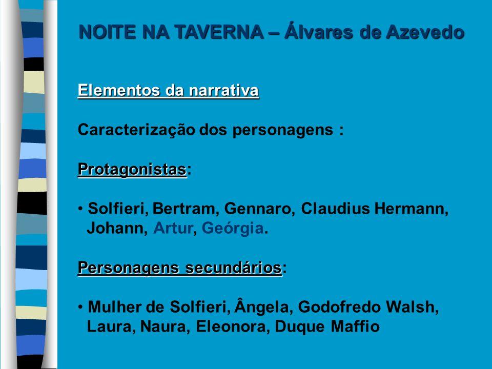Elementos da narrativa Caracterização dos personagens : Protagonistas Protagonistas: Solfieri, Bertram, Gennaro, Claudius Hermann, Johann, Artur, Geór